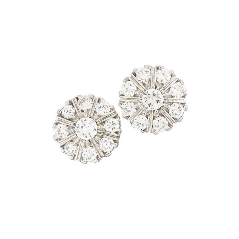 DIAMOND & WHITE GOLD CLUSTER EARRINGS