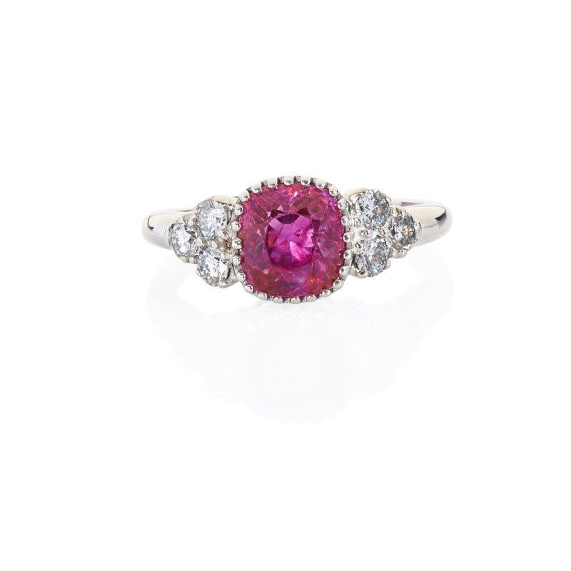 FINE BURMA RUBY, DIAMOND & PLATINUM RING