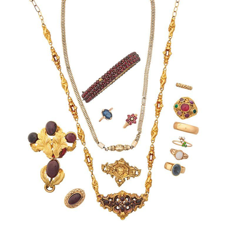 COLLECTION OF ANTIQUE GEM-SET GOLD JEWELRY