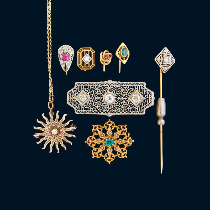 COLLECTION OF BELLE EPOQUE ART DECO GEM-SET JEWELRY