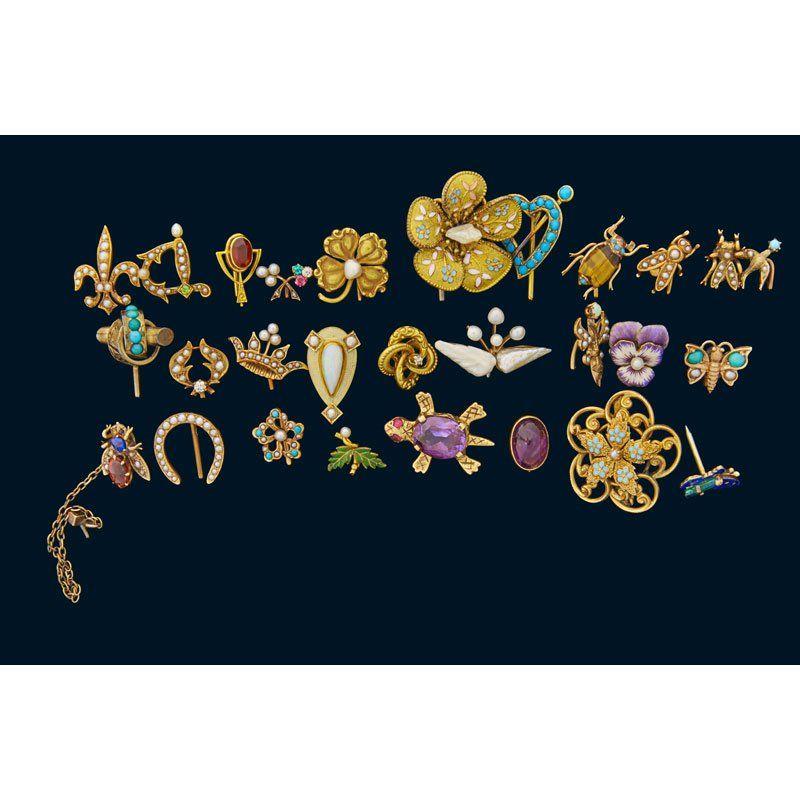 COLLECTION YELLOW GOLD GEM-SET PINS & STICKPINS