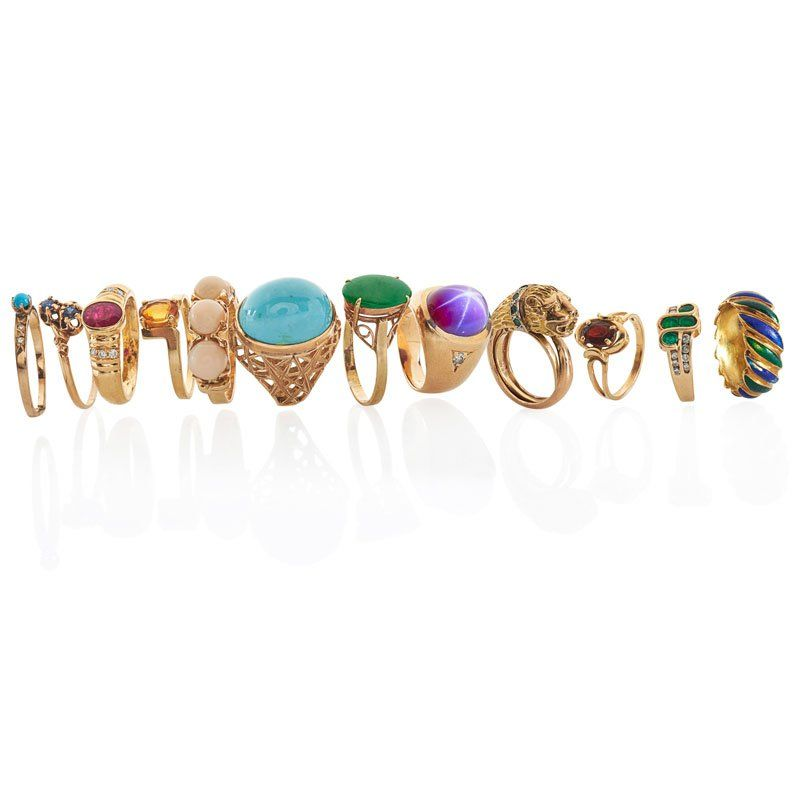 COLLECTION OF YELLOW GOLD GEM-SET RINGS