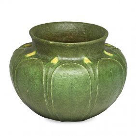 Grueby Fine Squat Vessel With Yellow Buds