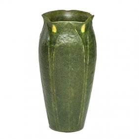 Grueby Tall Vase With Yellow Buds