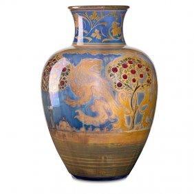 Pilkington Royal Lancastrian Vase W/ Lions
