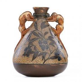 Martin Brothers Vase W/ Gargoyle Handles