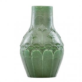 Grueby Fine Tall Vase With Flowers