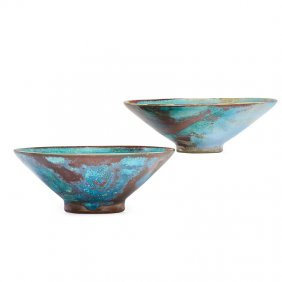 Jugtown Two Chinese Blue Bowls