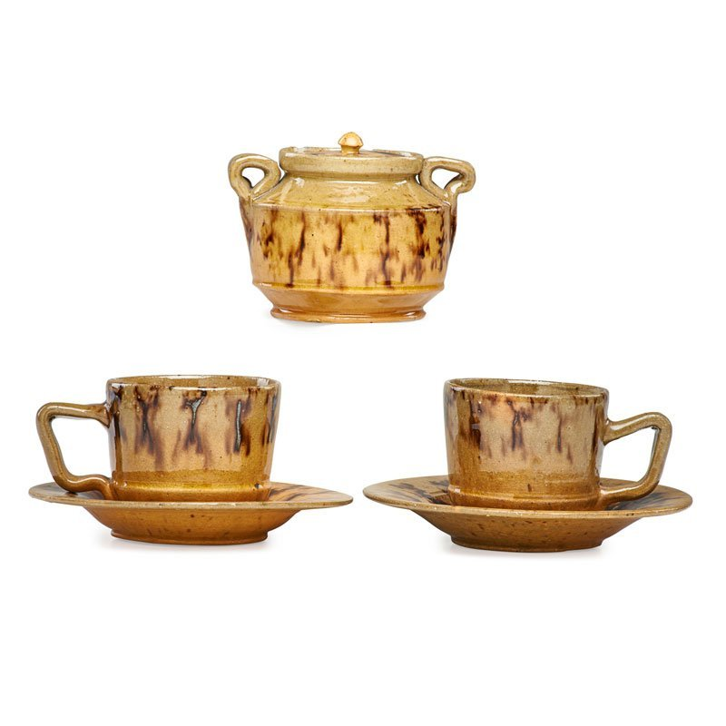 GEORGE OHR Two cups, two saucers, sugar