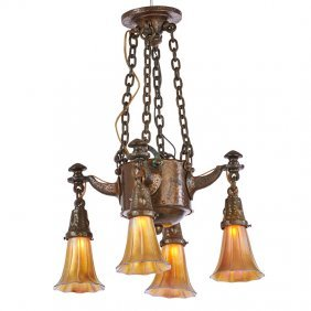 American Arts & Crafts Chandelier, Two Sconces