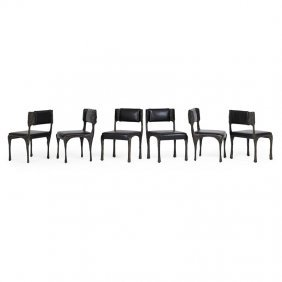 Paul Evans Six Sculptured Metal Dining Chairs