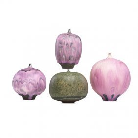 Four Stoneware Feelies, Fine Variegated Purple And