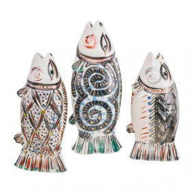 Akio Takamori Three Fish Sculptures