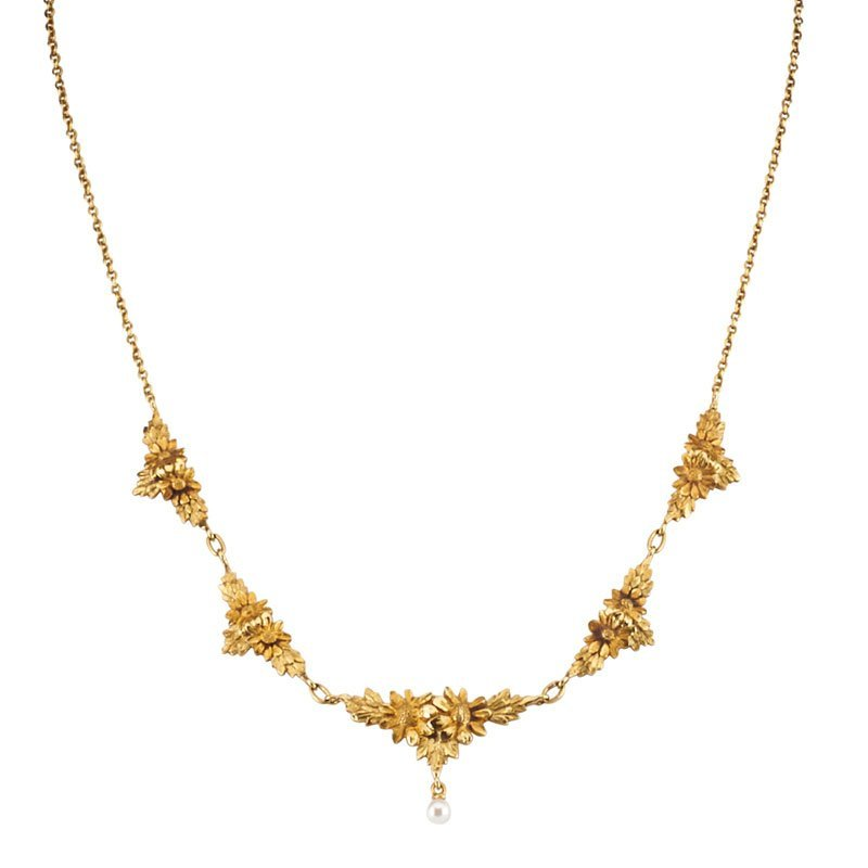 FRENCH ART NOUVEAU GOLD & PEARL DAISY NECKLACE