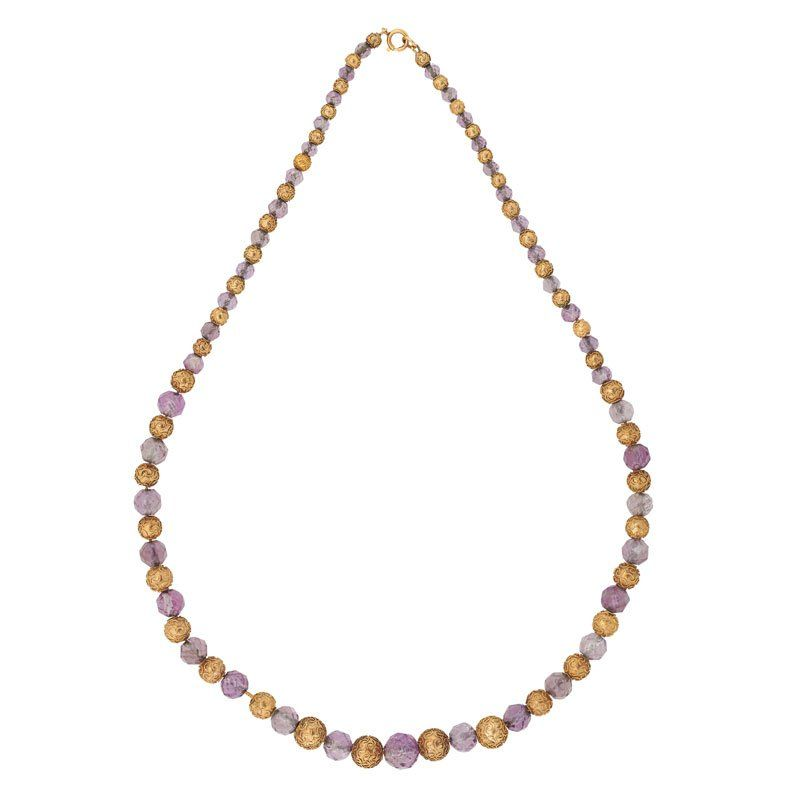 AMETHYST & YELLOW GOLD ARCHAEOLOGICAL REVIVAL NECKLACE