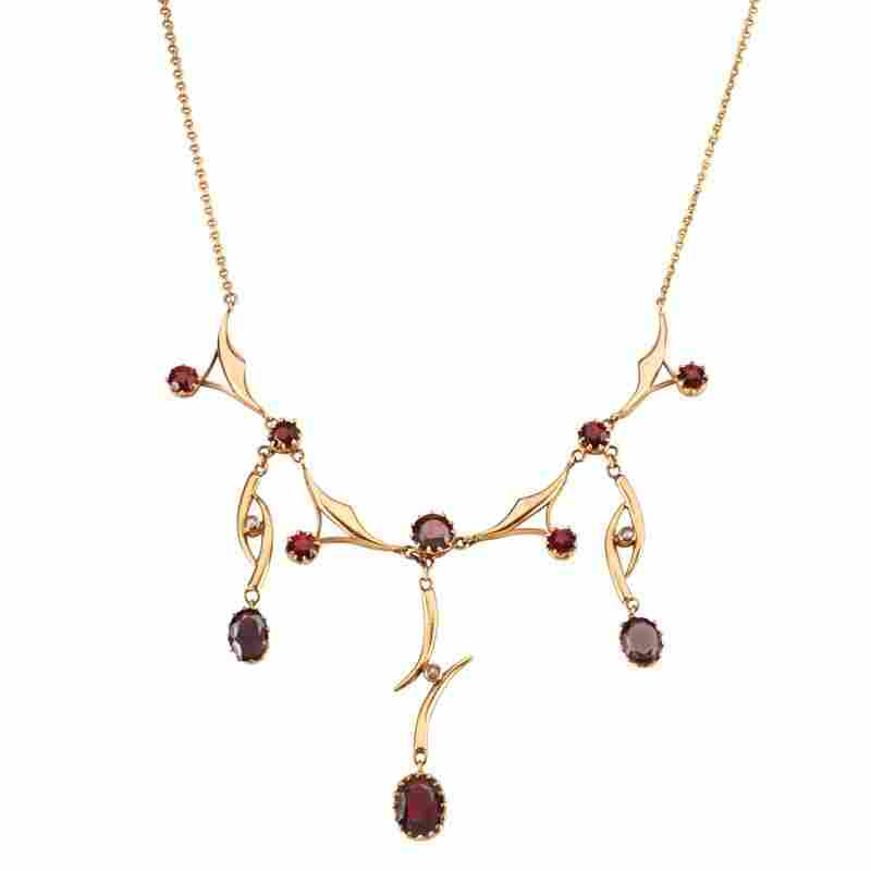 GARNET, SEED PEARL & YELLOW GOLD DROP NECKLACE