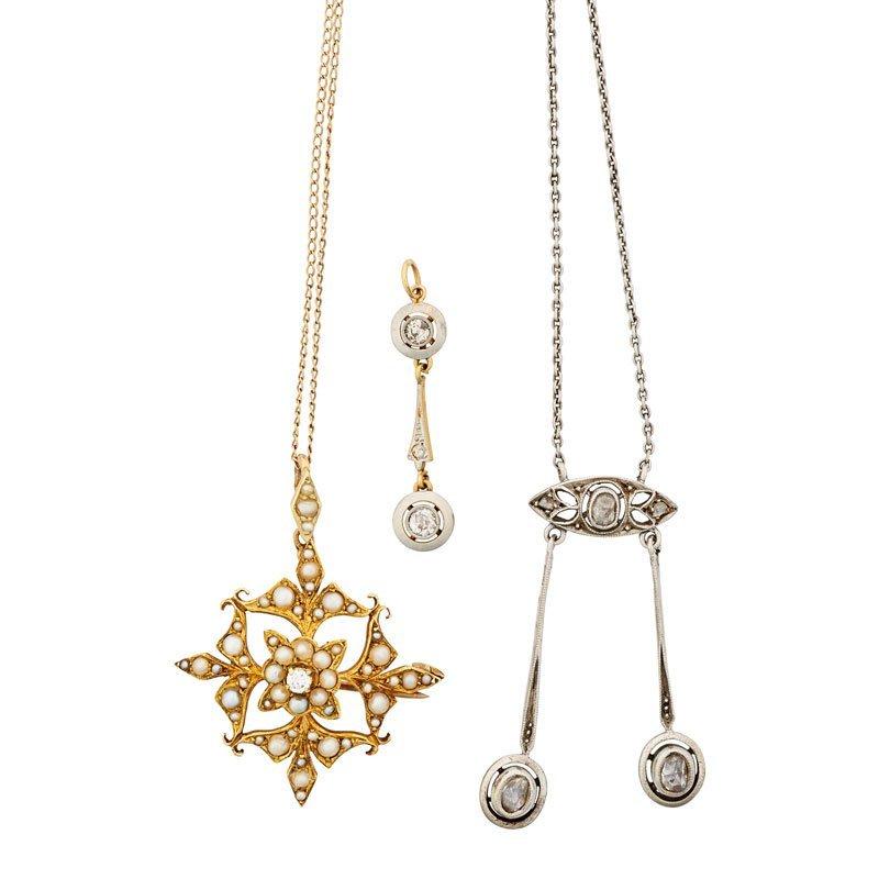 THREE PIECES EDWARDIAN DIAMOND OR PEARL JEWELRY