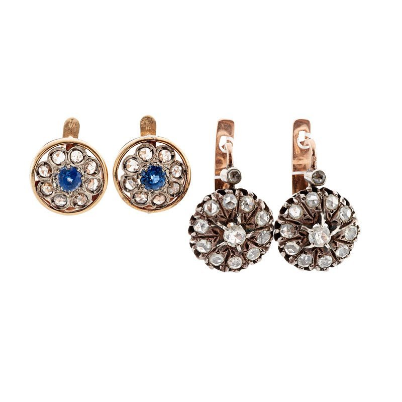 TWO PAIRS OF GEM-SET & GOLD CLUSTER EARRINGS