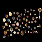 COLLECTION OF 59 STICKPINS, INCL. GOLD
