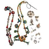 15 PIECES SILVER PAPIERMACHE OR CLAY CRAFT JEWELRY