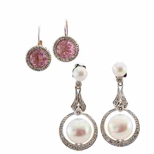 TWO PAIRS GEM-SET WHITE GOLD EARRINGS