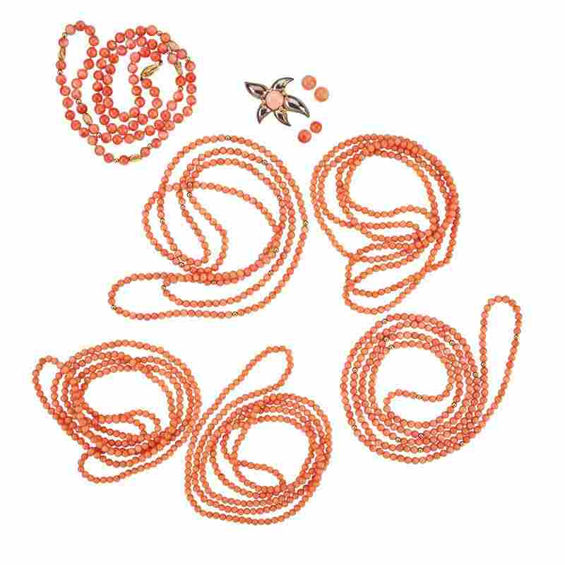 COLLECTION OF CORAL JEWELRY, INCL. TIFFANY & CO.
