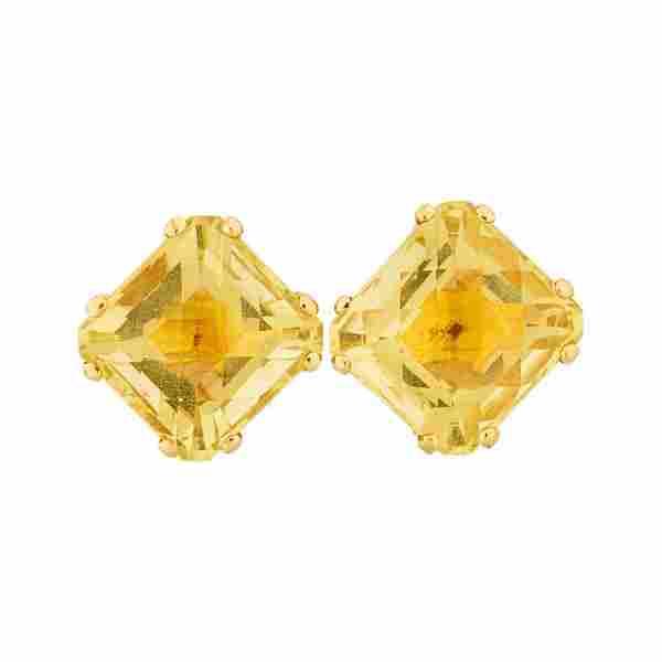 CITRINE & 18K YELLOW GOLD EARRINGS