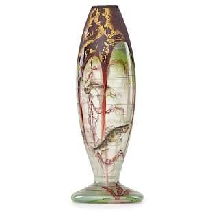 DAUM Early enameled vase