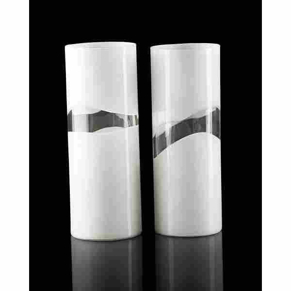 LUCIANO GASPARI; SALVIATI Two Incalmo vases