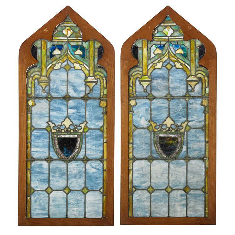TIFFANY STUDIOS Pair of windows