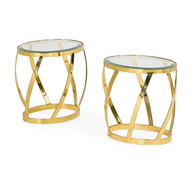 KARL SPRINGER Pair of side tables