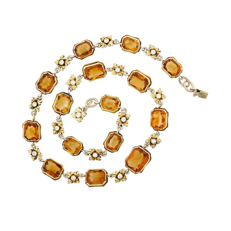 EDWARD OAKES CITRINE & DIAMOND GOLD NECKLACE