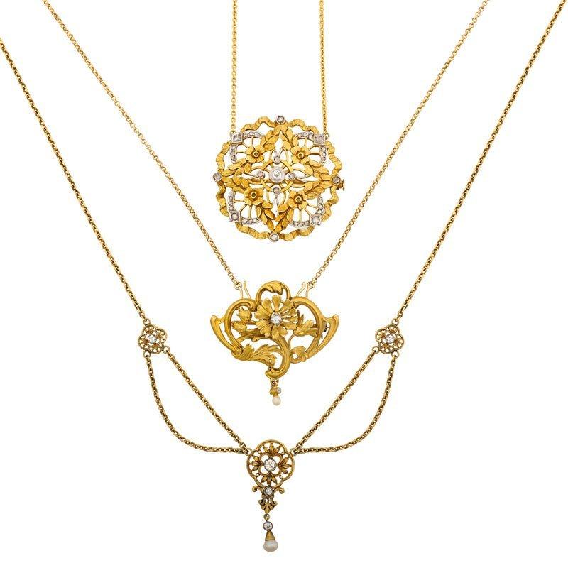 THREE BELLE EPOQUE GOLD & DIAMOND NECKLACES