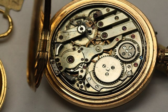 TWO CONTINENTAL GOLD POCKET WATCH REPEATERS - 10