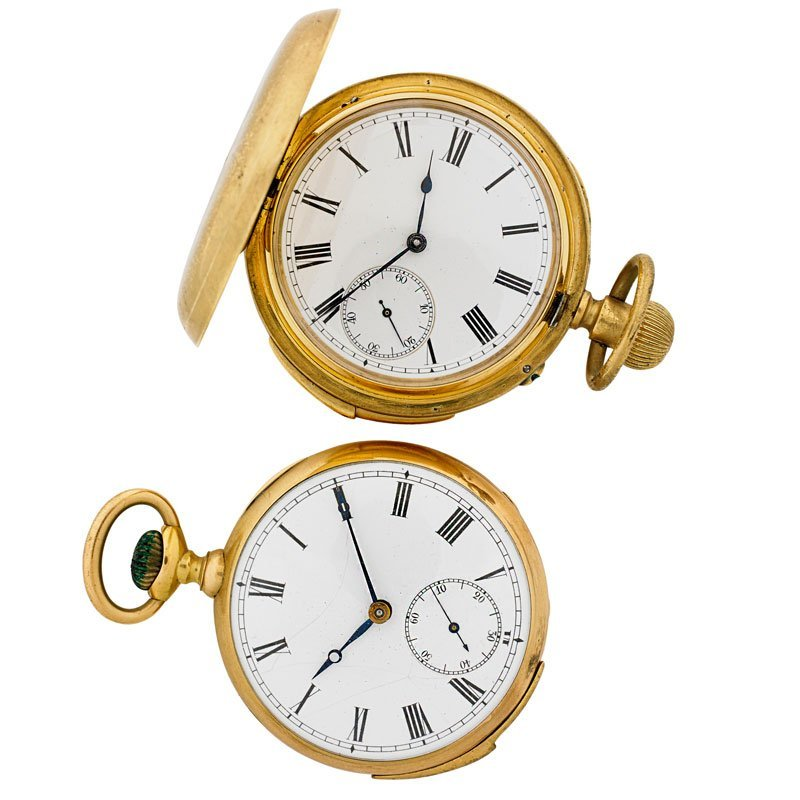 TWO CONTINENTAL GOLD POCKET WATCH REPEATERS
