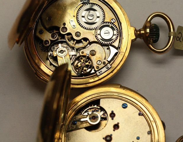 TWO CONTINENTAL GOLD POCKET WATCH REPEATERS - 3