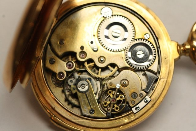 TWO CONTINENTAL GOLD POCKET WATCH REPEATERS - 7