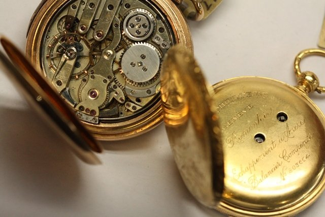 TWO CONTINENTAL GOLD POCKET WATCH REPEATERS - 9