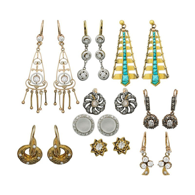 NINE PAIRS OF GOLD OR DIAMOND EARRINGS, 19TH-20TH C.