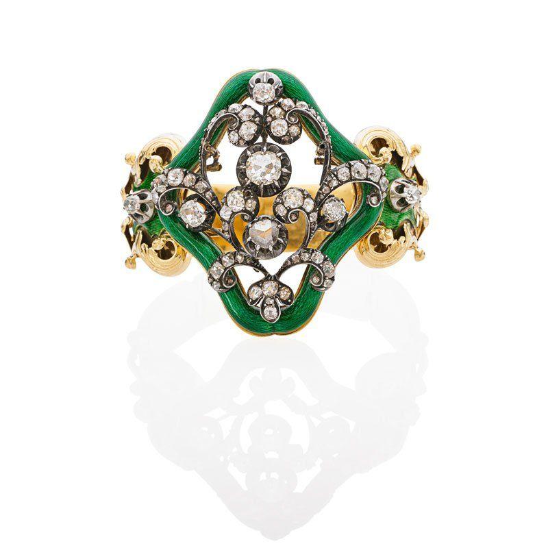 ANTIQUE FRENCH DIAMOND & ENAMELED YELLOW GOLD BRACELET