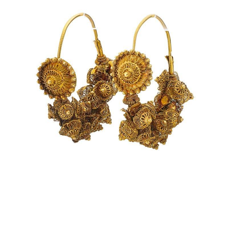 ANTIQUE NEAR EASTERN GOLD FILIGREE EARRINGS