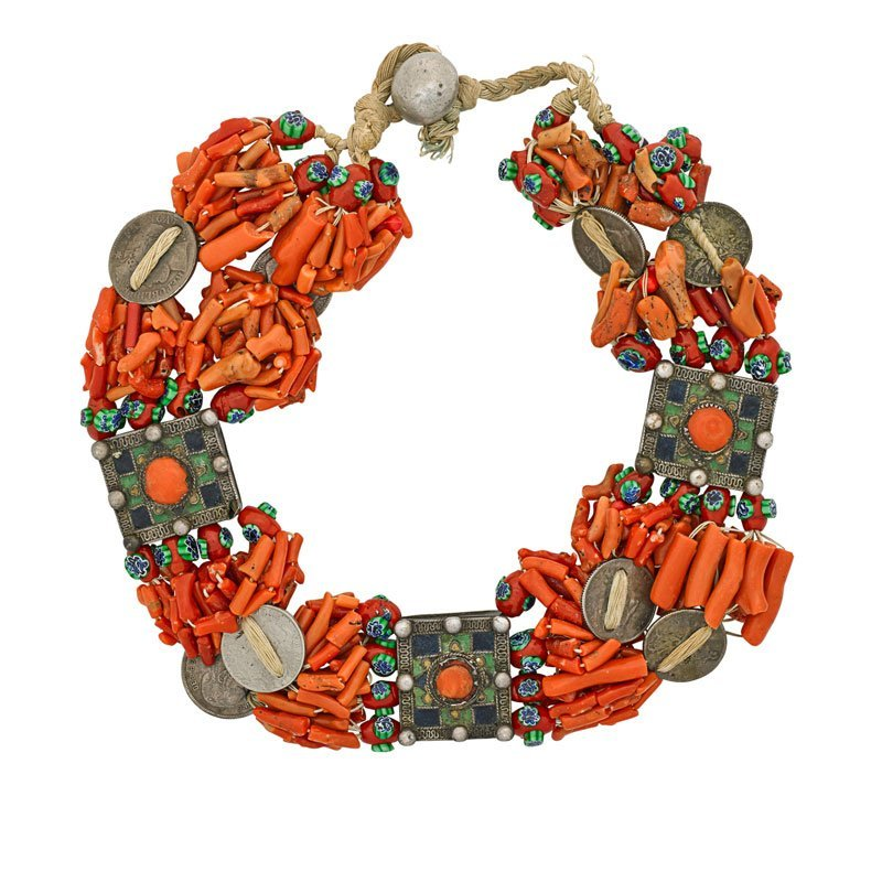 BERBER ENAMELED SILVER & CORAL NECKLACE