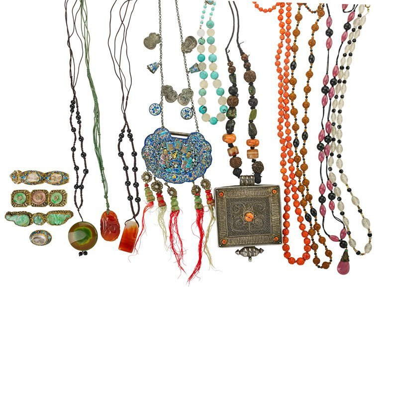 14 PIECES CHINESE, TIBETAN & OTHER JEWELRY