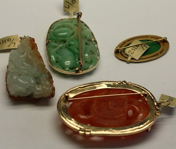 SEVEN PIECES OF CHINESE JEWELRY INCLUDES JADE - 6