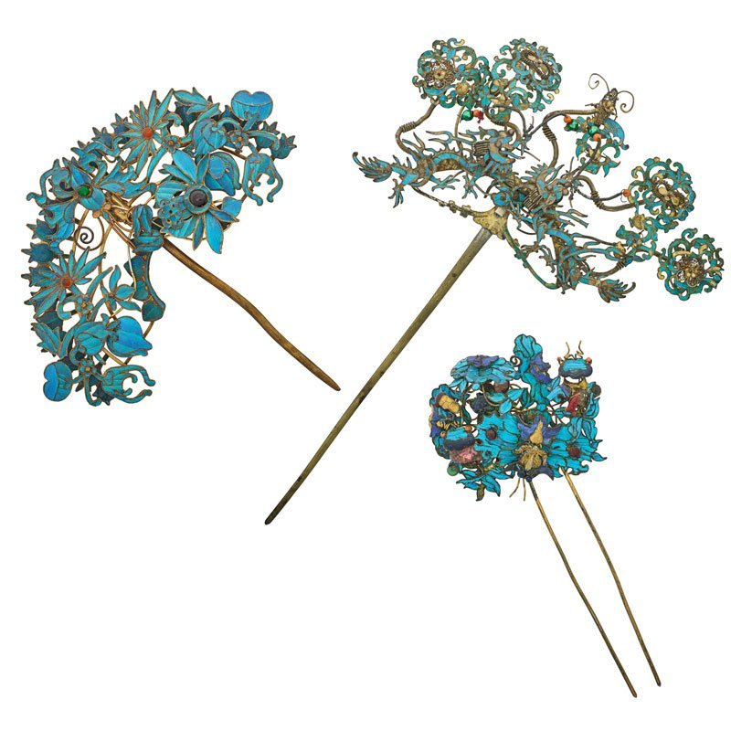 QING DYNASTY KINGFISHER FEATHER HAIR ORNAMENT