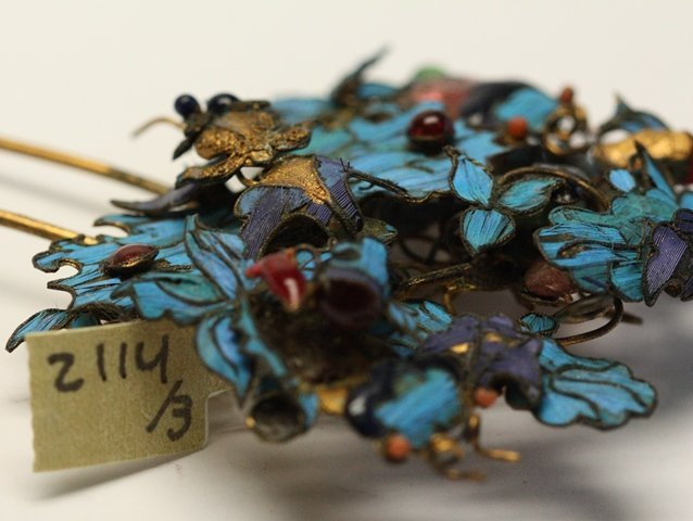 QING DYNASTY KINGFISHER FEATHER HAIR ORNAMENT - 2