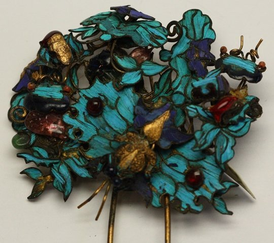 QING DYNASTY KINGFISHER FEATHER HAIR ORNAMENT - 3