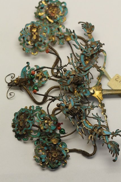 QING DYNASTY KINGFISHER FEATHER HAIR ORNAMENT - 5