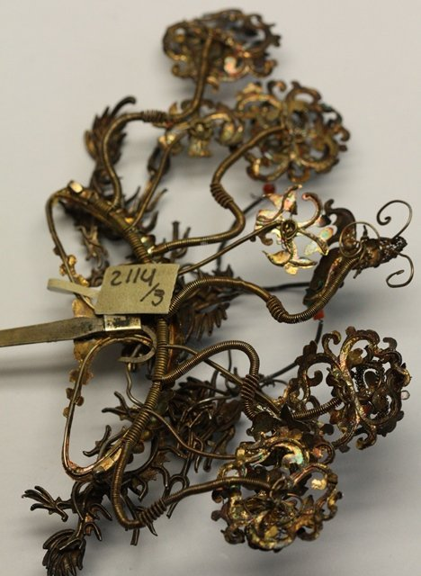 QING DYNASTY KINGFISHER FEATHER HAIR ORNAMENT - 6