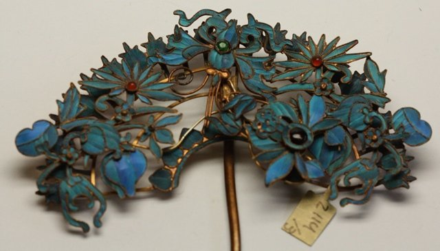 QING DYNASTY KINGFISHER FEATHER HAIR ORNAMENT - 7